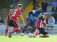 Lincoln City's Michael Bostwick battles with Wycombe Wanderers' Adebayo Akinfenwa<br /> <br /> Photographer Andrew Vaughan/CameraSport<br /> <br /> The EFL Sky Bet League One - Wycombe Wanderers v Lincoln City - Saturday 7th September 2019 - Adams Park - Wycombe<br /> <br /> World Copyright © 2019 CameraSport. All rights reserved. 43 Linden Ave. Countesthorpe. Leicester. England. LE8 5PG - Tel: +44 (0) 116 277 4147 - admin@camerasport.com - www.camerasport.com