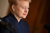 President Dalia Grybauskaite of Lithuania participates in a news conference with other leaders of Baltic Nations at The White House in Washington, DC, April 3, 2018. <br /> Credit: Chris Kleponis / Pool via CNP
