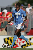 OCT 2, 2005: College Park, MD, USA:  UNC Tarheel forward #5 Jaime Gilbert runs onto the ball while playing the Maryland Terrapins at Ludwig Field.  UNC won, 4-0. Mandatory Credit: Photo By Brad Smith (c) Copyright 2005 Brad Smith