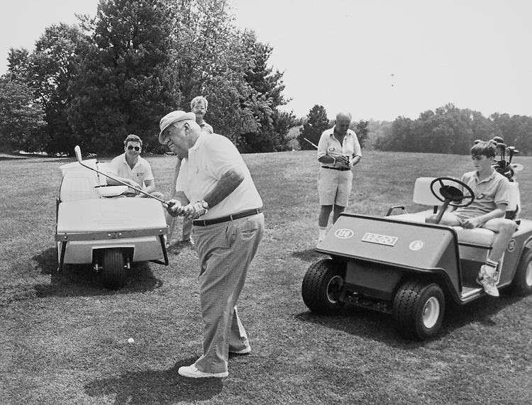 "Speaker of the House, Rep. Thomas Phillip ""Tip"" O'Neill, House Majority Leader playing golf on golf course. (Photo by CQ Roll Call)"