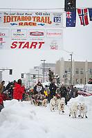 Jim Lanier leaves the 2011 Iditarod ceremonial start line in downtown Anchorage, during the 2012 Iditarod..Jim R. Kohl/Iditarodphotos.com