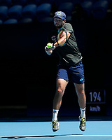7th January 2020; RAC Arena, Perth, Western Australia; ATP Cup Australia, Perth, Day 5; Russia versus Norway; Viktor Durasovic of Norway plays a backhand shot against Karen Khachanov of Russia - Editorial Use