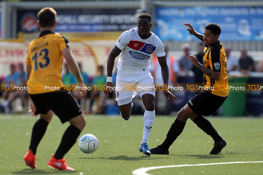 Fejiri Okenabirhie of Dagenham and Joe Anderson of Maidstone and Joe Anderson of Maidstone during Maidstone United  vs Dagenham & Redbridge, Vanarama National League Football at the Gallagher Stadium on 28th August 2017