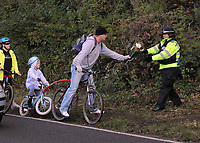 Pictured: Local people leaving floral tributes near the scene where the body of Rebecca Aylward was discovered. Monday 25 October 2010<br />