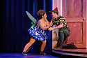 London, UK. 08.12.2015. Mischief Theatre Company presents PETER PAN GOES WRONG, at the Apollo Theatre. Co-written by Henry Lewis, Jonathan Sayer & Henry Shields, directed by Adam Meggido. Picture shows:  Nancy Wallinger (Tinkerbell), Greg Tannahill (Peter Pan). Photograph © Jane Hobson.