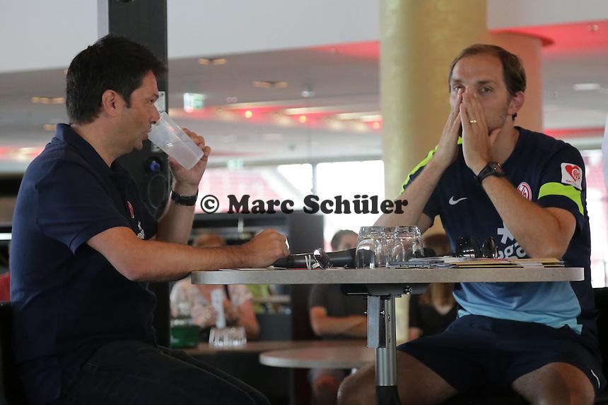 Manager Christian Heidel (Mainz 05) und Trainer Thomas Tuchel stellen sich den Fragen der Fans