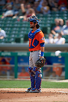 Syracuse Mets catcher Colton Plaia (24) during an International League game against the Indianapolis Indians on July 17, 2019 at Victory Field in Indianapolis, Indiana.  Syracuse defeated Indianapolis 15-5  (Mike Janes/Four Seam Images)