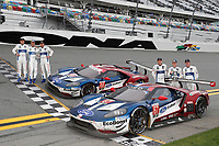 IMSA WeatherTech SportsCar Championship<br /> Rolex 24 Hours<br /> Daytona Beach, Florida, USA<br /> Sunday 28 January 2018<br /> #66 Chip Ganassi Racing Ford GT, GTLM: Dirk M&uuml;ller, Joey Hand, S&eacute;bastien Bourdais, #67 Chip Ganassi Racing Ford GT, GTLM: Ryan Briscoe, Richard Westbrook, Scott Dixon celebrate their 1-2 finish<br /> World Copyright: Michael L. Levitt<br /> LAT Images<br /> <br /> ref: Digital Image _68I0846