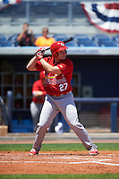 Palm Beach Cardinals right fielder Nick Thompson (27) at bat during a game against the Charlotte Stone Crabs on April 10, 2016 at Charlotte Sports Park in Port Charlotte, Florida.  Palm Beach defeated Charlotte 4-1.  (Mike Janes/Four Seam Images)