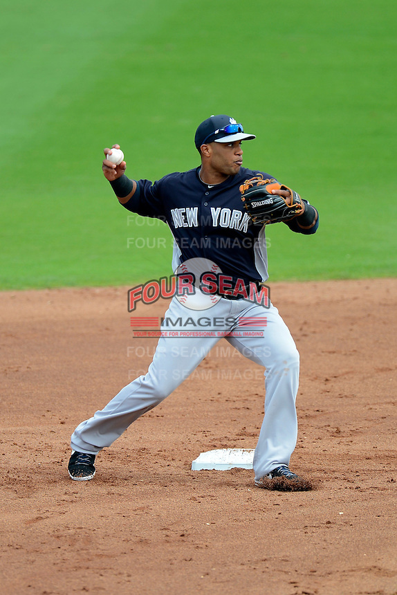 New York Yankees second baseman Robinson Cano #24 during a Spring Training game against the Philadelphia Phillies at Bright House Field on February 26, 2013 in Clearwater, Florida.  Philadelphia defeated New York 4-3.  (Mike Janes/Four Seam Images)