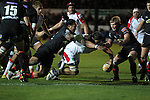 Ulster number 8 Nick Williams Nanai dives over to score..Celtic League.Newport Gwent Dragons v Ulster.Rodney Parade.26.10.12.©Steve Pope
