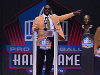 Canton, Ohio - August 3, 2019: Ty Law gives his enshrinement speech at the Tom Benson Hall of Fame Stadium in Canton, Ohio August 3, 2019 after his induction into the Pro Football Hall of Fame.  (Photo by Don Baxter/Media Images International)