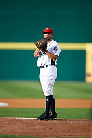 Binghamton Rumble Ponies starting pitcher Mickey Jannis (7) gets ready to deliver a pitch during a game against the Erie SeaWolves on May 14, 2018 at NYSEG Stadium in Binghamton, New York.  Binghamton defeated Erie 6-5.  (Mike Janes/Four Seam Images)