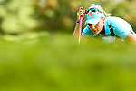 Lexi Thompson reviews the 9th green at the LPGA Championship 2014 Sponsored By Wegmans at Monroe Golf Club in Pittsford, New York on August 17, 2014