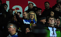 Burnley fans react to Swansea City fan at full time <br /> <br /> Photographer Ashley Crowden/CameraSport<br /> <br /> The Premier League - Swansea City v Burnley - Saturday 10th February 2018 - Liberty Stadium - Swansea<br /> <br /> World Copyright &copy; 2018 CameraSport. All rights reserved. 43 Linden Ave. Countesthorpe. Leicester. England. LE8 5PG - Tel: +44 (0) 116 277 4147 - admin@camerasport.com - www.camerasport.com