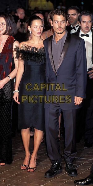 KATE MOSS & JOHNNY DEPP ..Ref: 7424/05h..ex celebrity couple, black strapless dress, feathers, full length, full-length..www.capitalpictures.com..sales@capitalpictures.com..©Capital Pictures