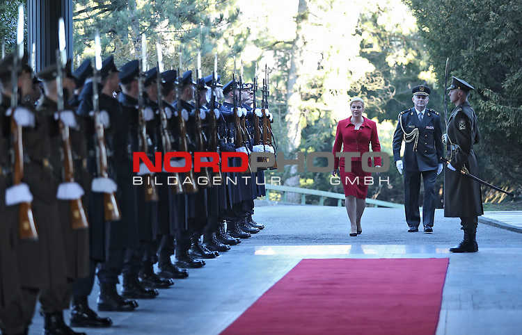 19.02.2015., Zagreb, Croatia - Office of the President,  the first day of the new Croatian President Kolinda Grabar-Kitarovic and lineup honorary battalion.<br /> <br /> Foto &copy;  nph / PIXSELL / Sajin Strukic