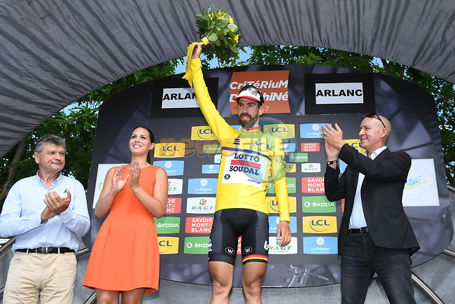 Thomas De Gendt (BEL) Lotto-Soudal retains the race leaders yellow jersey on the podium at the end of Stage 2 of the Criterium du Dauphine 2017, running 171km from Saint-Chamond to Arlanc, France. 5th June 2017. <br /> Picture: ASO/A.Broadway | Cyclefile<br /> <br /> <br /> All photos usage must carry mandatory copyright credit (&copy; Cyclefile | ASO/A.Broadway)