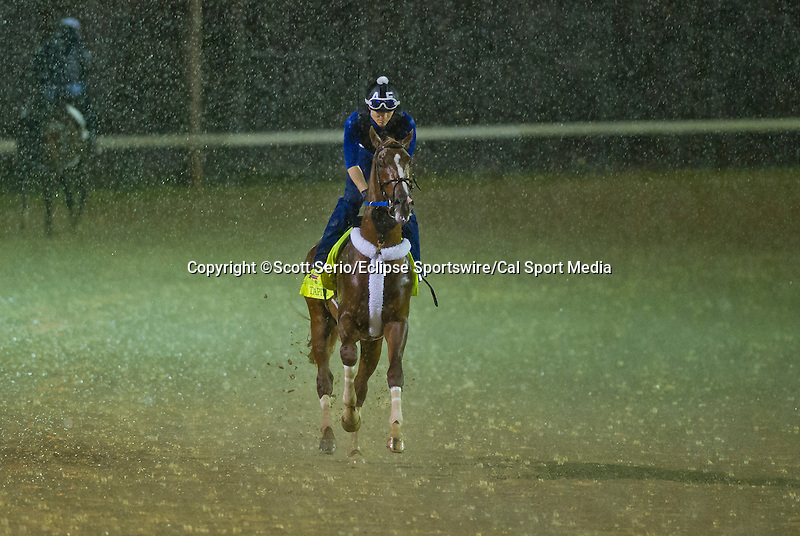 April 28, 2014: Tapiture, trained by Steve Asmussen, exercises as a thunderstorm rocked the track during workouts for the Kentucky Derby at Churchill Downs in Louisville, KY. Scott Serio/ESW/CSM