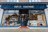 Pictured: Photographer Chris Fairweather at Hafod Hardware store in Rhayader, mid Wales, UK. Thursday 05 December 2019.<br /> Re: Shop owner Thomas Lewis Jones has made a Christmas advert starring Arthur Lewis Jones, his two-year-old son costing only £100.<br /> Hafod Hardware in Rhayader, Powys, has been making festive adverts for several years.<br /> This year's advert sees Arthur setting up the shop along with members of his family.