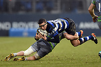 Darren Atkins of Bath Rugby is tackled. Anglo-Welsh Cup match, between Bath Rugby and Newcastle Falcons on January 27, 2018 at the Recreation Ground in Bath, England. Photo by: Patrick Khachfe / Onside Images