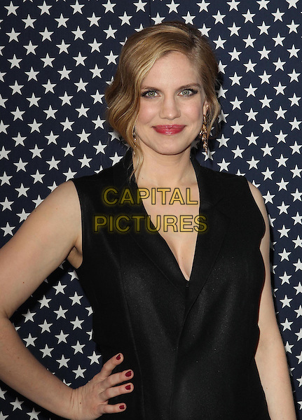 Anna Chlumsky.Los Angeles Premiere for the second season of HBO's series VEEP Held At Paramount Studios, Los Angeles, California, USA.  .April 9th, 2013.half length black jumpsuit pregnant hand on hip   .CAP/ADM/KB.©Kevan Brooks/AdMedia/Capital Pictures.