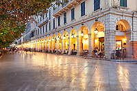 Liston square in the town of Corfu, Greece