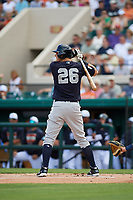 New York Yankees second baseman DJ LeMahieu (26) at bat during a Grapefruit League Spring Training game against the Detroit Tigers on February 27, 2019 at Publix Field at Joker Marchant Stadium in Lakeland, Florida.  Yankees defeated the Tigers 10-4 as the game was called after the sixth inning due to rain.  (Mike Janes/Four Seam Images)