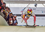 9 January 2016: Sungbin Yun, competing for South Korea, pushes off for his first run start of the BMW IBSF World Cup Skeleton race at the Olympic Sports Track in Lake Placid, New York, USA. Yun ended the day with a combined 2-run time of 1:48.76 and a silver medal, also breaking the 10-year old track start-time record on both his runs. Mandatory Credit: Ed Wolfstein Photo *** RAW (NEF) Image File Available ***