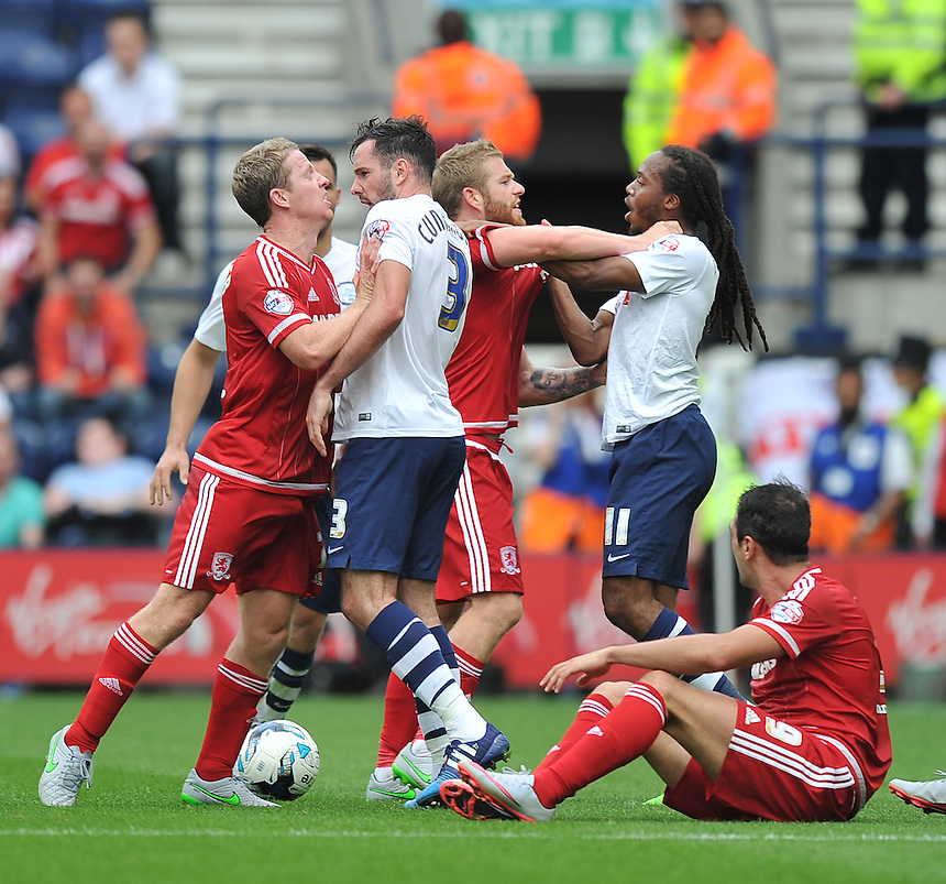 Tempers flare up during the second half <br /> <br /> Photographer Dave Howarth/CameraSport<br /> <br /> Football - The Football League Sky Bet Championship - Preston North End v Middlesbrough -  Sunday 9th August 2015 - Deepdale - Preston<br /> <br /> &copy; CameraSport - 43 Linden Ave. Countesthorpe. Leicester. England. LE8 5PG - Tel: +44 (0) 116 277 4147 - admin@camerasport.com - www.camerasport.com