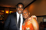 """Norm Lewis """"Keith McLean"""" on All My Children singing in Black Stars in the Great White Way  poses with Nana Rucker at The National Black Theatre Festival with a week of plays, workshops and much more with an opening night gala of dinner, awards presentation followed by Black Stars of the Great White Way followed by a celebrity reception. It is an International Celebration and Reunion of Spirit. (Photo by Sue Coflin/Max Photos)"""