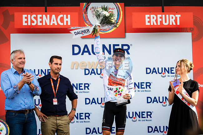 Marc Hirschi (SUI) Team Sunweb wins the young riders White Jersey after Stage 4 of the Deutschland Tour 2019, running 159.5km from Eisenach to Erfurt, Germany. 1st September 2019.<br /> Picture: ASO/Henning Angerer | Cyclefile<br /> All photos usage must carry mandatory copyright credit (© Cyclefile | ASO/Henning Angerer)
