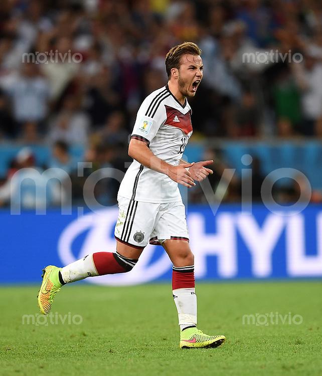 FUSSBALL WM 2014                FINALE Deutschland - Argentinien     13.07.2014 Torschuetze Mario Goetze (Deutschland) jubelt nach dem 1:0