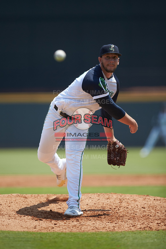 Gwinnett Stripers starting pitcher Patrick Weigel (50) delivers a pitch to the plate against the Scranton/Wilkes-Barre RailRiders at Coolray Field on August 18, 2019 in Lawrenceville, Georgia. The RailRiders defeated the Stripers 9-3. (Brian Westerholt/Four Seam Images)