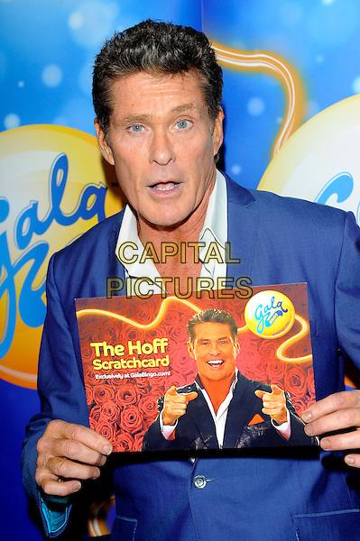 David Hasselhoff .at launch of GalaBingo.com's new scratchcard, Vanilla, London, England, UK, 8th February 2013..half length holding the Hoff  suit blue jacket white shirt .CAP/CJ.©Chris Joseph/Capital Pictures.
