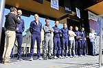 Quick-Step Floors at the Team Presentation for the upcoming 115th edition of the Paris-Roubaix 2017 race held in Compiegne, France. 8th April 2017.<br /> Picture: Eoin Clarke | Cyclefile<br /> <br /> <br /> All photos usage must carry mandatory copyright credit (&copy; Cyclefile | Eoin Clarke)