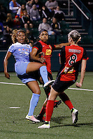 Rochester, NY - Friday July 01, 2016: Chicago Red Stars defender Casey Short (6), Western New York Flash forward Jessica McDonald (14), Western New York Flash defender Alanna Kennedy (8) during a regular season National Women's Soccer League (NWSL) match between the Western New York Flash and the Chicago Red Stars at Rochester Rhinos Stadium.
