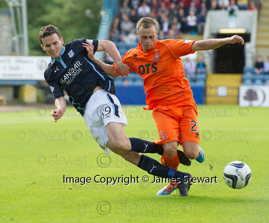 Dundee's Paul McGinn and Killie's Chris Chantler challenge for the ball.