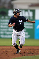 Empire State Yankees outfielder Kevin Russo #7 during a game against the Norfolk Tides in the first ever Triple-A contest to be held at Dwyer Stadium on April 20, 2012 in Batavia, New York.  (Mike Janes/Four Seam Images)