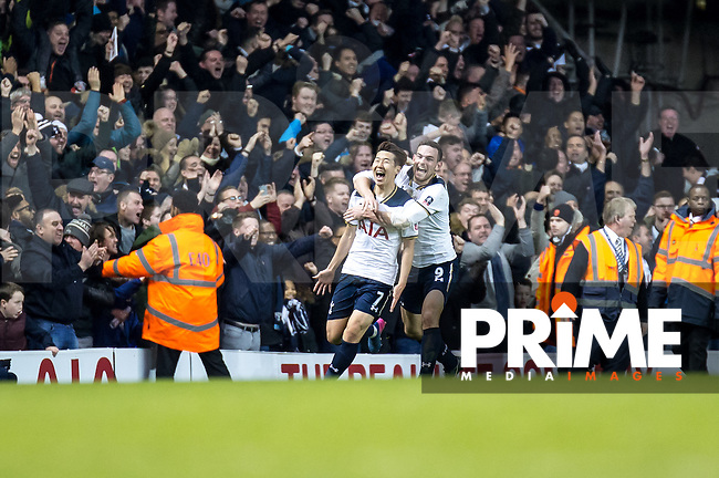 Son Heung-Min of Tottenham Hotspur celebrates scoring the winning goal during the FA Cup 4th round match between Tottenham Hotspur and Wycombe Wanderers at White Hart Lane, London, England on the 28th January 2017. Photo by Liam McAvoy.