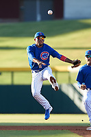 AZL Cubs 1 second baseman Oswaldo Pina (60) throws to first base during an Arizona League game against the AZL Athletics Gold at Sloan Park on June 20, 2019 in Mesa, Arizona. AZL Athletics Gold defeated AZL Cubs 1 21-3. (Zachary Lucy/Four Seam Images)