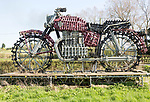 Large model motorcycle made from steel tubing, Calne, Wiltshire, England, UK