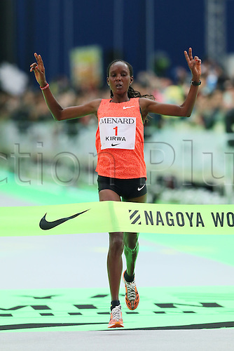 13.03.2016. Aichi, Japan. Nagoya womens marathon.    Eunice Jepkirui Kirwa (BRN) crosses the finish line as winner of the race