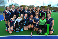 The NPGHS team celebrates making the semifinals after winning the 2017 Jenny Hair Cup girls hockey match between Horowhenua College (white and red) and New Plymouth Girls' High School (navy) at Hockey Manawatu Twin Turfs in Palmerston North, New Zealand on Wednesday, 6 September 2017. Photo: Dave Lintott / lintottphoto.co.nz