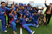 Afghanistan V UAE - World T20 Super Four stage qualifying cricket match in Dubai Sports City Cricket Stadium - Afghanistan players celebrate after beating the UAE by 4 wickets, thereby qualifying for the World T20 in the West Indies in April and May - Picture by Donald MacLeod 13.02.10