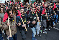Pictured: A rally consisting mostly of young students parades through the city on its way to the US Embassy to mark the 43rd anniversary of the Polytechnic Uprising in Athens Greece. Thursday 17 November 2016<br /> Re: 43rd anniversary of the Athens Polytechnic uprising of 1973 which was a massive demonstration of popular rejection of the Greek military junta of 1967–1974. The uprising began on November 14, 1973, escalated to an open anti-junta revolt and ended in bloodshed in the early morning of November 17 after a series of events starting with a tank crashing through the gates of the Polytechnic.