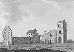 Engraving of Scottish landscapes and buildings from late eighteenth century, Kilwinning Abbey, North Ayrshire, Scotland 1790 , drawn by S Hooper