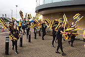 1st October 2017, Ricoh Arena, Coventry, England; Aviva Premiership rugby, Wasps versus Bath Rugby;  The Wasps flag waving supporters arrive at the outside the stadium before kick-off