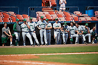 Dartmouth Big Green bench, including Austen Michel (35), Cole O'Connor (33), Chase Jeter (8), Jonah Jenkins (32), Logan Adams (10), Trystan Sarcone (14), Nathan Skinner (15), during a game against the Bradley Braves on March 21, 2019 at Chain of Lakes Stadium in Winter Haven, Florida.  Bradley defeated Dartmouth 6-3.  (Mike Janes/Four Seam Images)