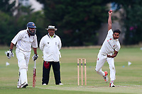 S Ramasamy in bowling action for Parkonians during during Hainault and Clayhall CC (batting) vs Oakfield Parkonians CC, Shepherd Neame Essex League Cricket at the Jack Carter Pavilion on 15th July 2017